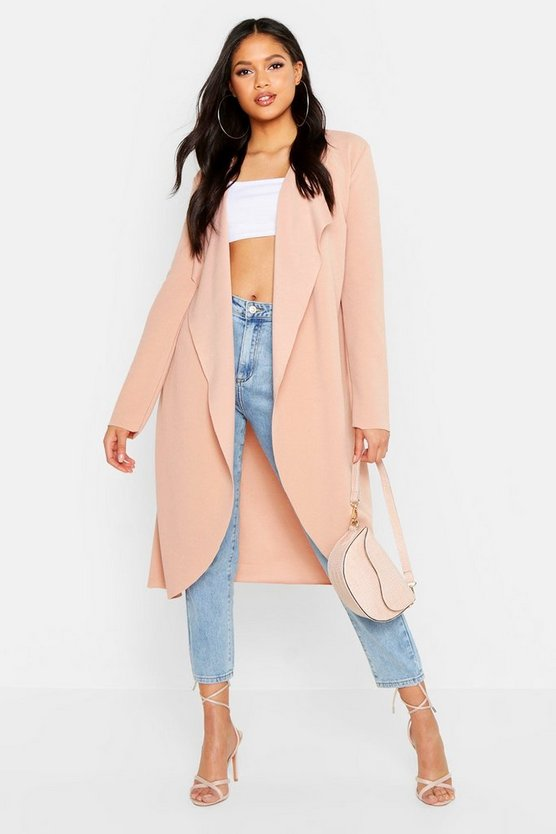 Womens Stone Tall Waterfall Duster