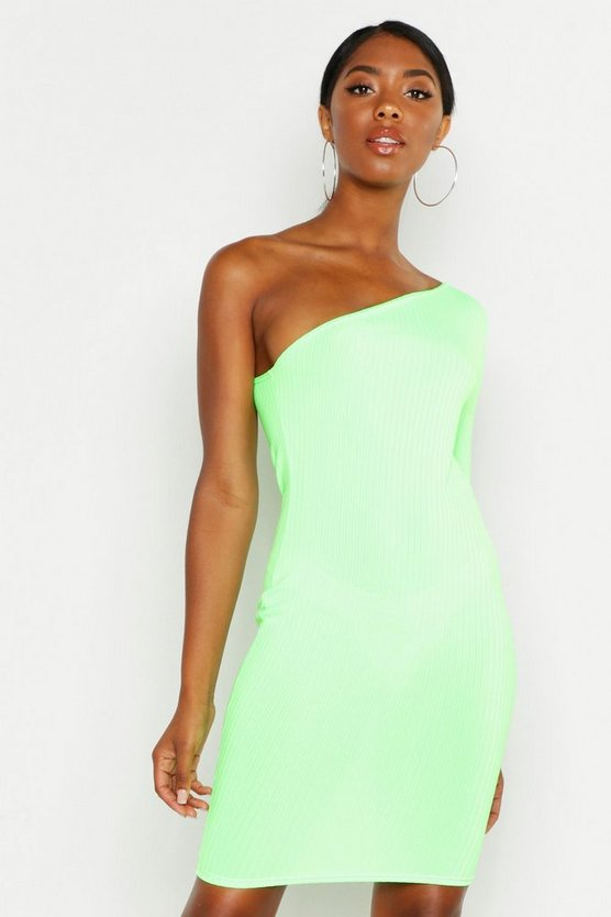 Womens Neon-lime Tall One Shoulder Neon Rib Bodycon Dress