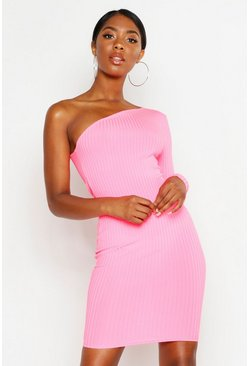 Womens Neon-pink Tall One Shoulder Neon Rib Bodycon Dress