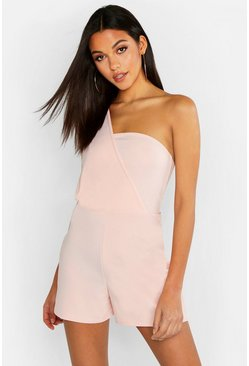 Womens Blush Tall One Shoulder Playsuit
