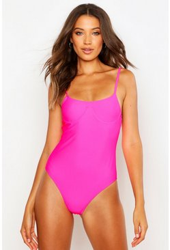 Neon-pink Tall Underwired Scoop Swimsuit