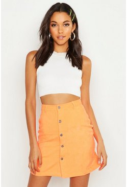 Womens Orange Tall Neon Cord Skirt