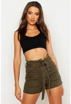 Womens Khaki Tall Belted Utility Shorts