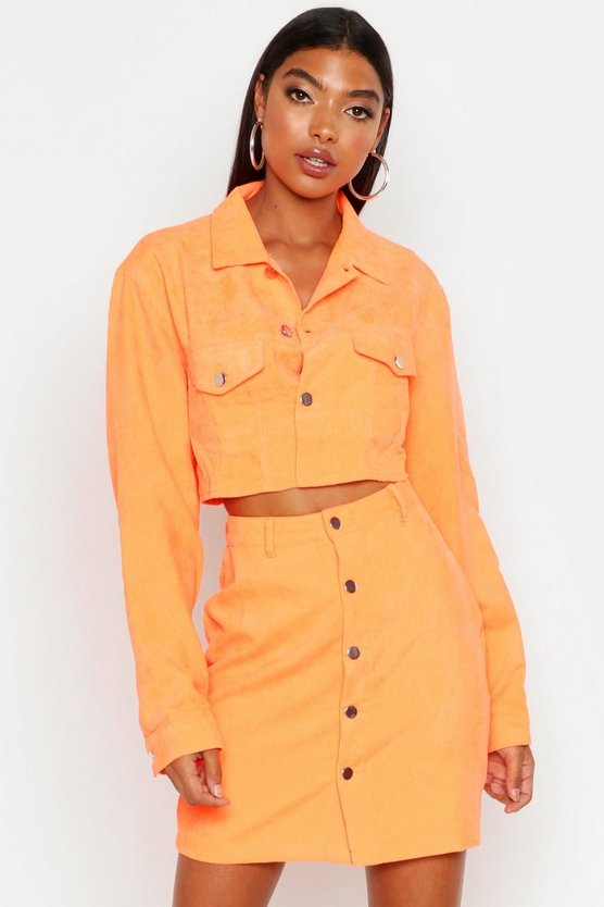 Tall Neonfarbene Kurzjacke aus Cord, Orange, Damen