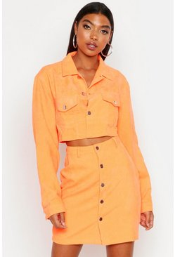 Womens Orange Tall Neon Cord Crop Jacket