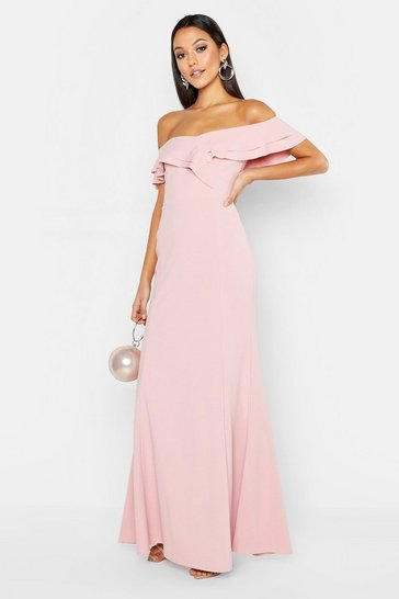 Womens Soft pink Tall Ruffle Off the Shoulder Maxi Dress