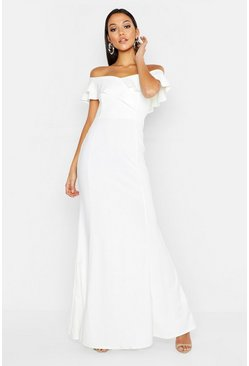 Womens White Tall Ruffle Off the Shoulder Maxi Dress