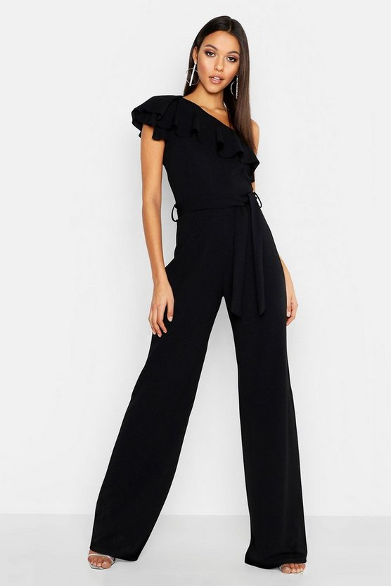 Womens Black Tall Ruffle One Shoulder Jumpsuit