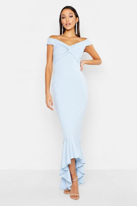 Womens Pastel blue Tall Knot Front Ruffle Hem Maxi Dress