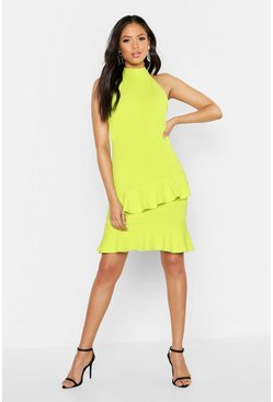 Womens Lime Tall Halter Neck Double Ruffle Mini Dress