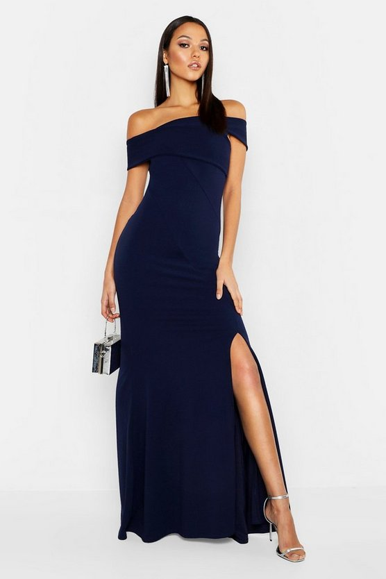 Womens Navy Tall Bardot Extreme Split Maxi Dress