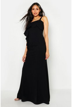 Womens Black Tall Ruffle Detail Maxi Dress