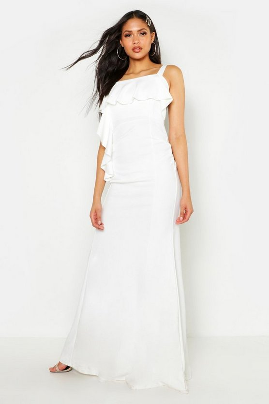 Womens White Tall Ruffle Detail Maxi Dress