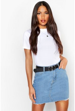 Bleach wash Tall Fray Hem Denim Skirt