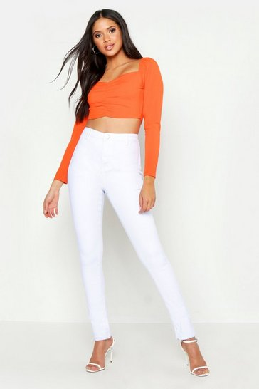 Womens White Tall Tube Jean