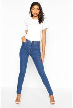 Womens Mid blue Tall High Waisted Skinny Jean