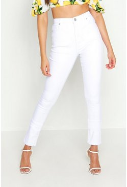 Womens White Tall High Waist Skinny Jean