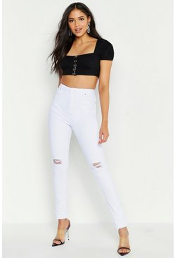 Jean Skinny taille haute aspect vieilli Tall, Blanc, Femme