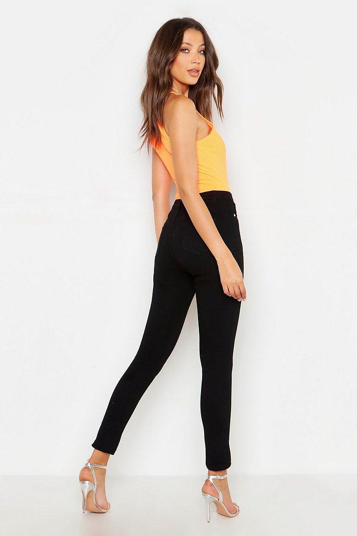 Tall High Waist Skinny Jeans in Destroyed Optik | boohoo