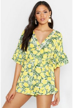 Womens Yellow Tall Lemon Print Frill Hem Tie Waist Playsuit