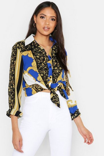 Womens Cobalt Tall Scarf Print Oversized Shirt