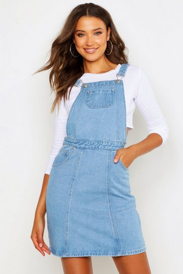 Womens Light blue Tall Denim Pinafore Dress