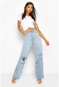 Womens Blue Tall Rip Boyfriend Jeans