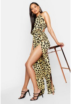 Womens Black Tall Leopard Print Maxi Dress