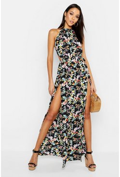 Black Tall Backless Tropical Print Maxi Dress