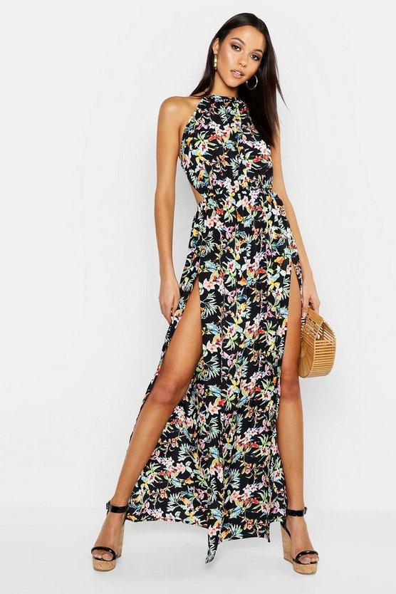Tall Backless Tropical Print Maxi Dress