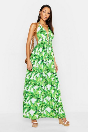 Womens White Tall Plunge Front Palm Print Maxi Dress