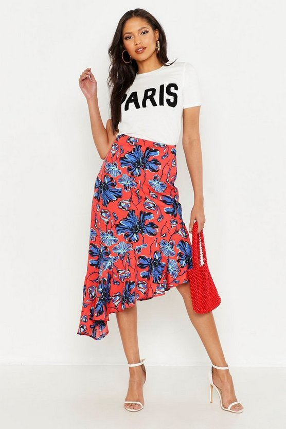 Womens Red Tall Floral Print Ruffle Hem Midi Skirt