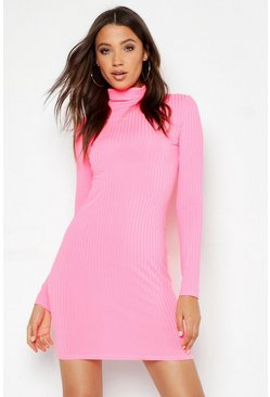Womens Neon-pink Tall Neon Rib Roll Neck Bodycon Dress
