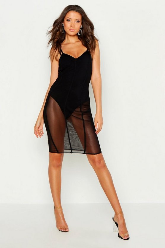 Womens Black Tall Cup Detail Binding Mesh Bodycon Dress