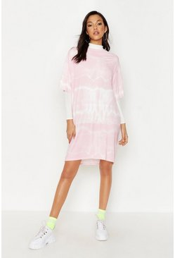 Womens Pink Tall Oversized Tie Dye T-Shirt Dress