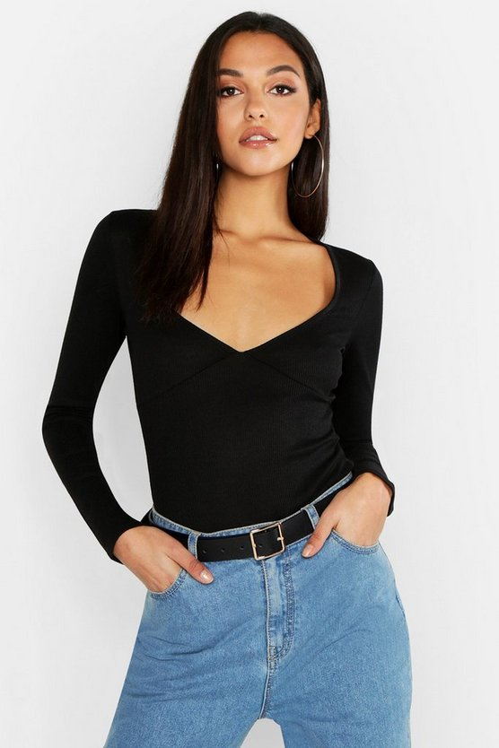 Black Tall Cup Detail Plunge Bodysuit
