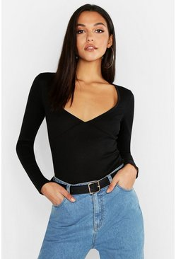 Womens Black Tall Cup Detail Plunge Bodysuit