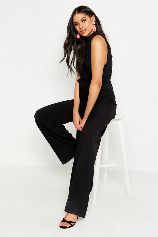 Womens Black Tall High Neck Drop Arm Hole Jumpsuit