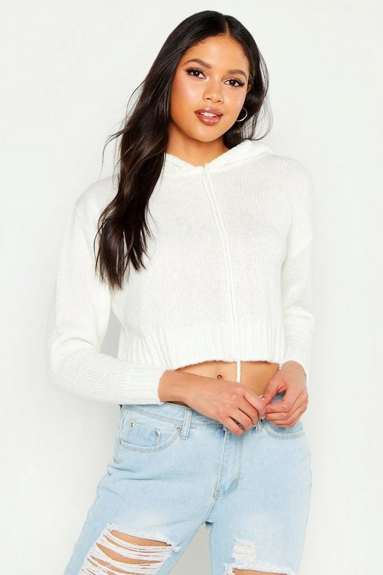 Ivory Tall Crop Knit Hoody