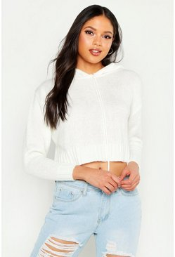 Womens Ivory Tall Crop Knit Hoody