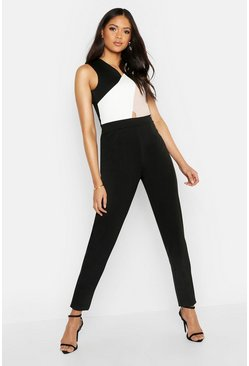 Womens Black Tall Colour Block Skinny Leg Jumpsuit