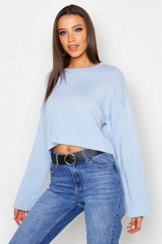 Womens Powder blue Tall Oversized Deep Rib Crop Jumper