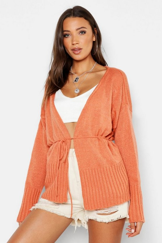Womens Apricot Tall Wrap Belted Cardigan