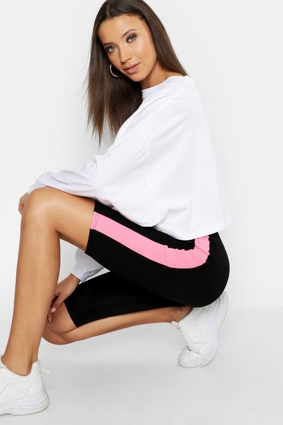 Womens Neon-pink Tall Neon Trim Cycling Shorts
