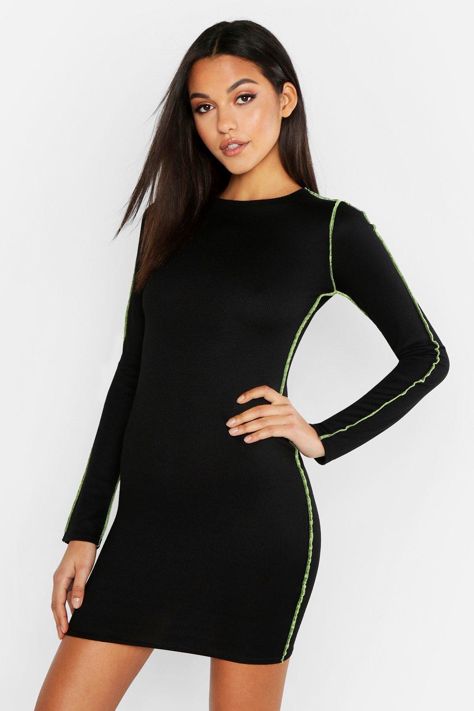 Tall Neon Contrast Trim Bodycon Dress