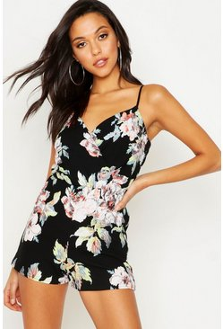 Womens Black Tall Floral Print Playsuit