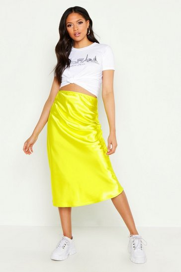 Womens Chartreuse Tall Satin Midi Skirt