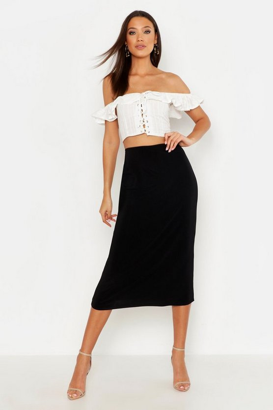 Black Tall Slinky Midi Skirt