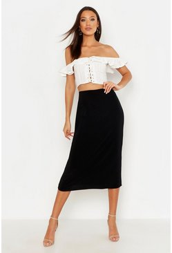 Womens Black Tall Slinky Midi Skirt