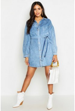 Womens Grey Tall Acid Wash Belted Denim Dress